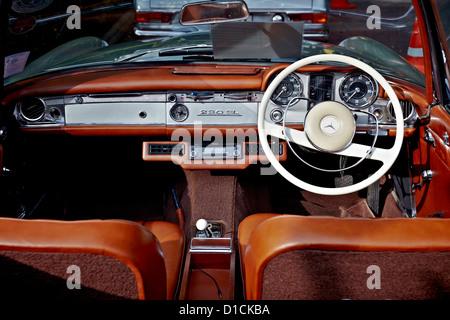 Interior View Of A Vintage Mercedes 230 SL Motor Car