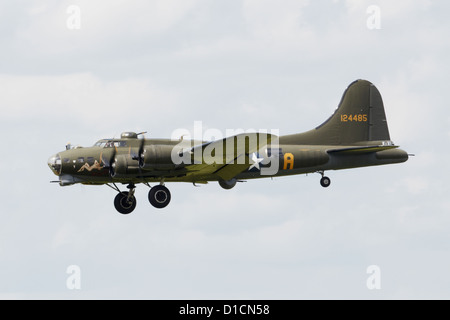 Boeing B-17G Flying Fortress flying during an air show - Stock Photo