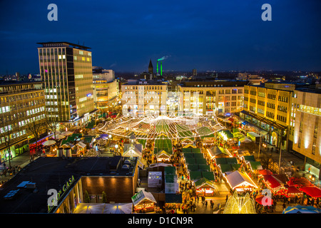 Christmas market in the city center of Essen, Germany, Europe - Stock Photo