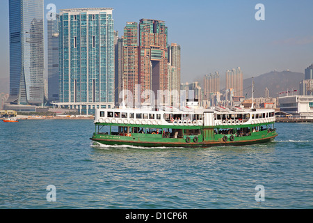 HONG KONG - DECEMBER 3: Ferry 'Celestial star' leaving Kowloon pier on December 3, 2010 in Hong Kong, China. Ferry - Stock Photo