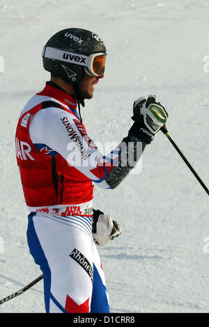 16.12.2012.  Alta Badia, Italy. Thomas Fanara (FRA) at the finish of the Gran Risa course whilst competing in the - Stock Photo