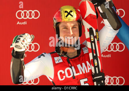 16.12.2012.  Alta Badia, Italy. Marcel HIRSCHER (AUT) on the podium of the Audi FIS Alpine Ski World Cup Giant Slalom - Stock Photo