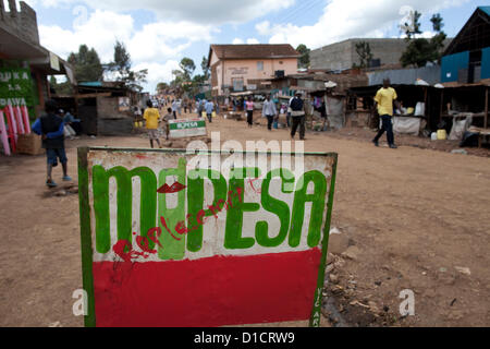 M-Pesa mobile-phone money transfer service in Kenya - Stock Photo