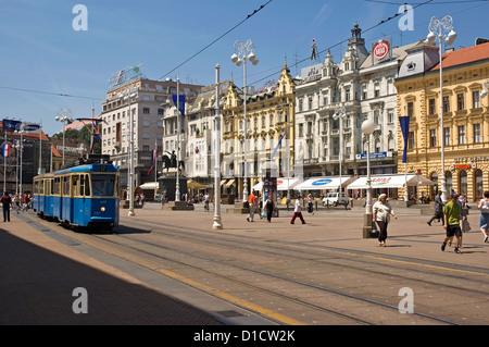 Elk192-1013 Croatia, Zagreb, Trg Josip Jelacica with streetcar - Stock Photo