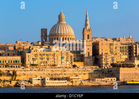 Malta, Valletta, skyline with St. Paul's Anglican Cathedral and Carmelite Church from Sliema, - Stock Photo