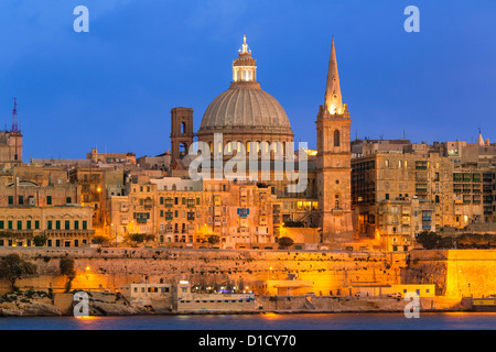 Malta, Valletta, skyline with St. Paul's Anglican Cathedral and Carmelite Church from Sliema. - Stock Photo
