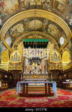 Interior of St. John's Co-Cathedral, Valletta, Malta, Europe - Stock Photo