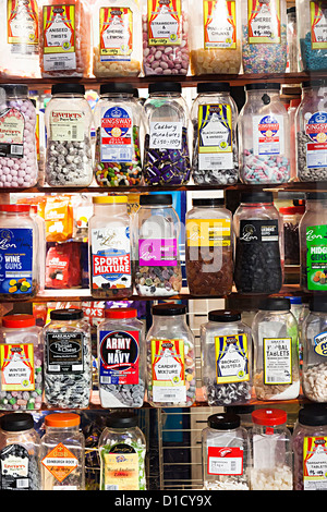 Sweets in jars on sweetshop shelves, Cardiff, Wales, UK - Stock Photo