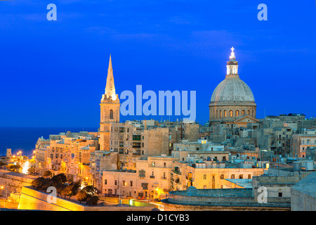 Malta, Valletta, skyline with St. Paul's Anglican Cathedral and Carmelite Church - Stock Photo