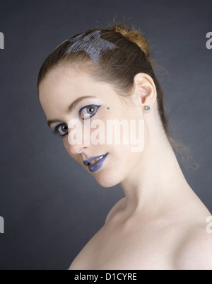 Schwentinental, Germany, pale young woman with blue lips - Stock Photo