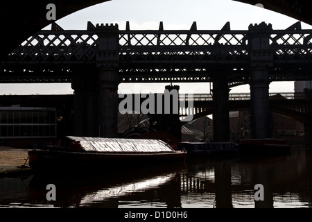 Railway viaducts and canal basin, Castlefield, (Urban Heritage Park and Conservation Area),  Manchester, England, - Stock Photo