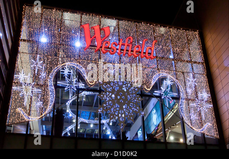 Westfield Shopping Centre Stratford Shopping Centre London Christmas Lighting  Sales - Stock Photo