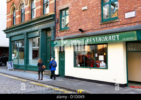 Bars and restaurants in revitalised Northern Quarter, city centre, Manchester, England, UK - Stock Photo