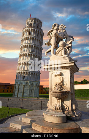 The Leaning Tower Of Pisa at sunset, Italy - Stock Photo