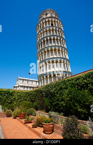 The Leaning Tower Of Pisa, Italy against a blue sky - Stock Photo