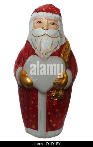 Chocolate Santa Claus figure carrying a hear shape that can be used for your text - Stock Photo