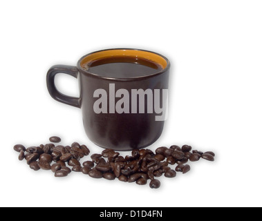 Dark brown cup of coffee with coffee beans scattered around it -on a plain white background - Stock Photo
