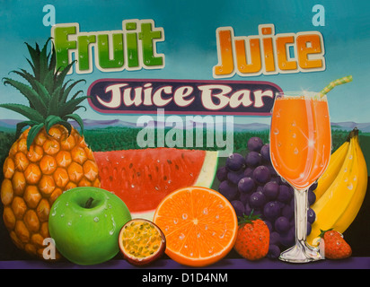 Fruit juice bar / shop sign with oranges,apples,pineapple,melon, and glass of juice - Stock Photo