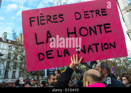 Paris, France, Man Holding Sign,'proud to be 'the Shame of the Nation'' Marching in Gay Marriage Demonstration, - Stock Photo