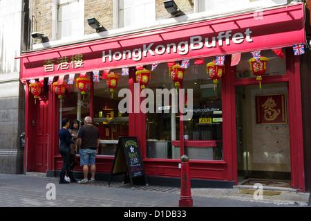 Hong Kong buffet in Lisle Street, Soho. - Stock Photo