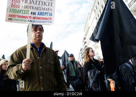 Municipal workers protest in the center of Athens against forced redundancies in the state sector. Europe's leaders - Stock Photo