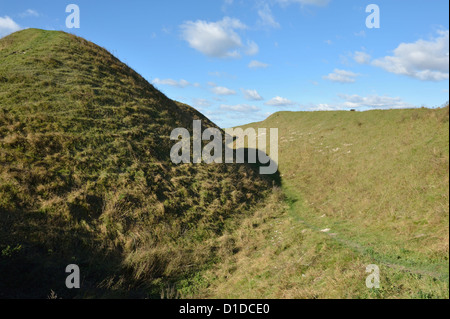 Old Sarum hill fort earthworks near Salisbury Wiltshire England UK - Stock Photo