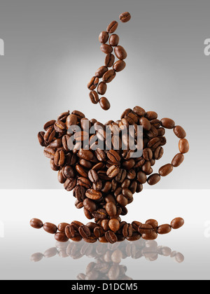 Coffee beans in the shape of a coffee cup. ' love coffee  ' - Stock Photo