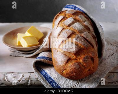 Artisan organic sourdough bread loaf - Stock Photo