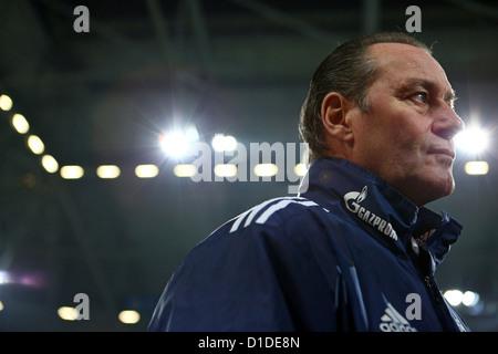 Schalke's head coach Huub Stevens speaks during an interview prior to the Bundesliga soccer match between FC Schalke - Stock Photo