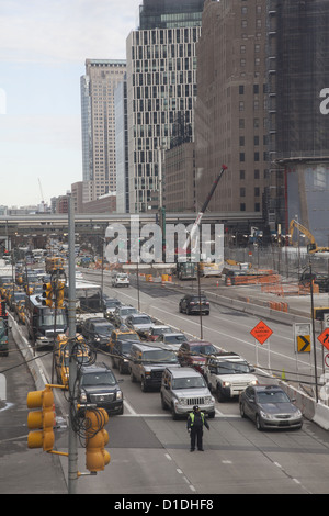 Looking up West Street in lower Manhattan from the World Financial Center. NYC - Stock Photo
