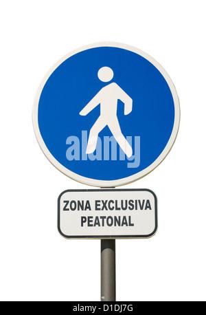 "Spanish Pedestrians Only ""Zona Exclusiva Peatonal"" Sign Spain - Stock Photo"