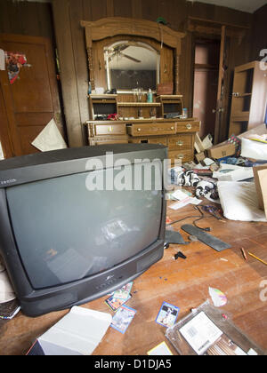 April 30, 2012 - Woonsocket, Rhode Island, United States - A large television is left inside a foreclosed house - Stock Photo