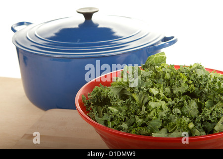 Freshly chopped Kale in a kitchen - Stock Photo