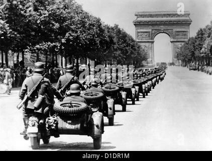 German soldiers on motorbikes are pictured during a victory parade on the occasion of the German invasion of France - Stock Photo
