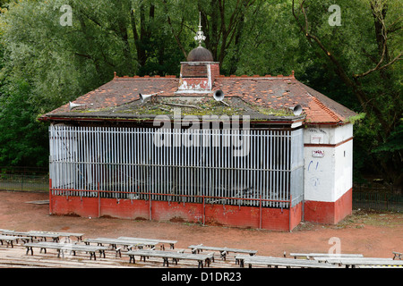 The derelict bandstand in Kelvingrove Park before renovation in the West End of Glasgow, Scotland, UK - Stock Photo