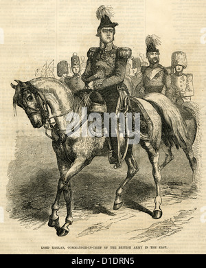 1854 engraving, Lord Raglan, Commander-in-Chief of the British Army in the East. - Stock Photo