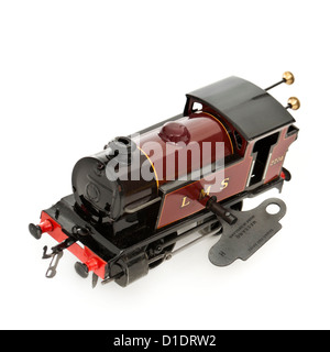 Rare 1950's Hornby (Meccano) clockwork tinplate LMS locomotive (O-gauge) with running number 2270 - Stock Photo