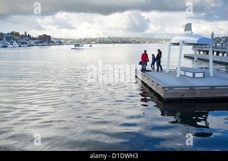 Family visiting Heritage Wharf, Lake Union Park - Seattle, Washington