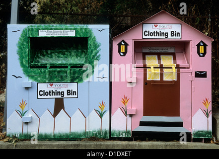 Clothing Bin Charity Donation Old Used Clothes - Stock Photo