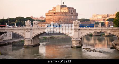 Vittorio Emanuele II bridge over the Tiber, and the Castle St Angelo - Stock Photo