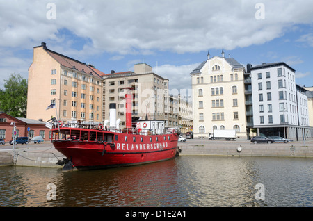 Lightship 'Relandersgrund' in Halkolaituri Vedkajen Marina, Helsinki, Finland. Built 1888 and decommissioned in - Stock Photo