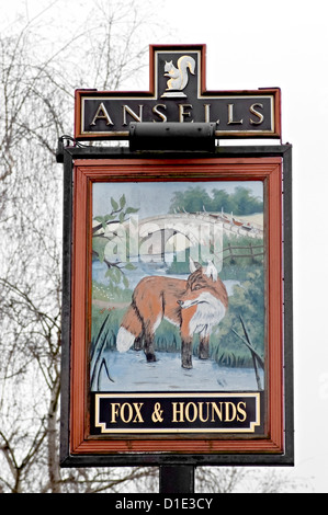 fox and hounds Pub sign - Stock Photo