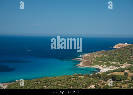 An aerial view of the Corsican coast near L'Ile Rousse in the Haute-Balagne region, Corsica, France, Mediterranean, - Stock Photo