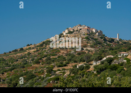The hilltop village of St. Antonino in the Haute-Balagne region of Corsica, France, Europe - Stock Photo