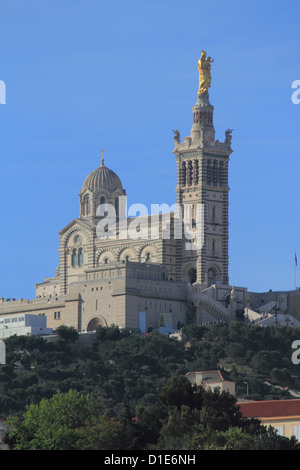 Notre Dame de la Garde church, Marseilles, Bouches du Rhone, Provence, France, Europe - Stock Photo