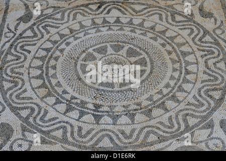 Mosaic in Roman villa, Risan, Kotor Bay, UNESCO World Heritage Site, Montenegro, Europe - Stock Photo