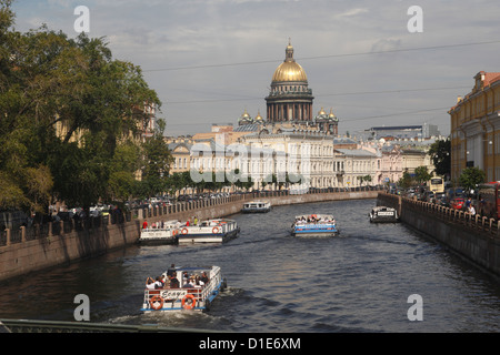 Dome of St. Isaac's Cathedral and canal, St. Petersburg, Russia, Europe - Stock Photo