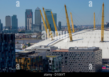 O2 Arena, with Canary Wharf behind, London, England, United Kingdom, Europe - Stock Photo