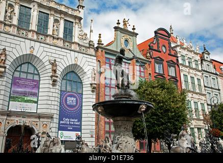 View of Neptune's Fountain and Artus Court, Gdansk, Pomerania, Poland, Europe - Stock Photo