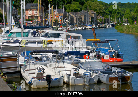 Boats in Marina, Banks of River Rance, Dinan, Cotes d'Armor, Brittany, France, Europe - Stock Photo